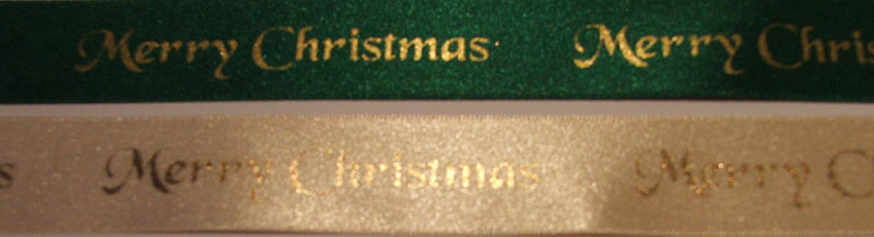 25mm Green satin with gold Merry Christmas