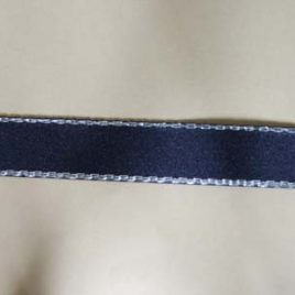 Silver Edge Navy Satin